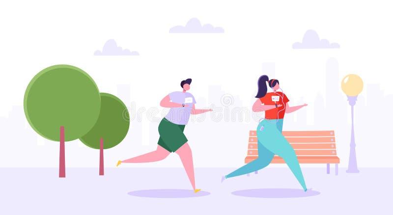 Caráteres do homem e da mulher que correm no parque Povos ativos felizes que movimentam-se Maratona de corrida dos pares Estilo d ilustração do vetor