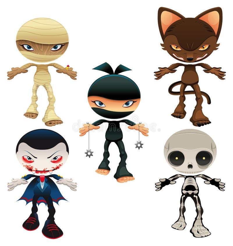 Caráteres do horror de Halloween ilustração royalty free