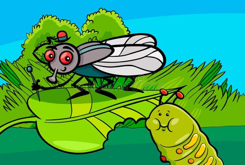 Caráteres do inseto dos desenhos animados da mosca e da lagarta ilustração stock