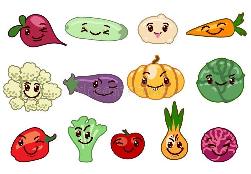 Caráteres do kawaii dos vegetais ilustração royalty free