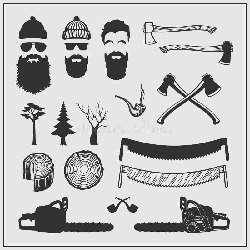 Caráteres do lenhador com ferramentas e atributos ajustados: serras de cadeia, serras, machados, selos e árvores ilustração royalty free