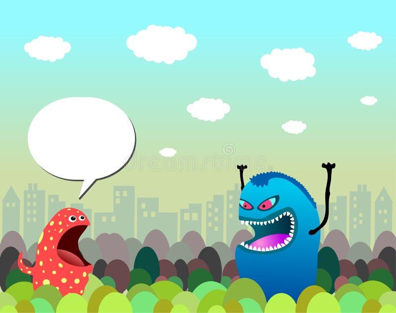 Caráteres do monstro na cidade ilustração do vetor