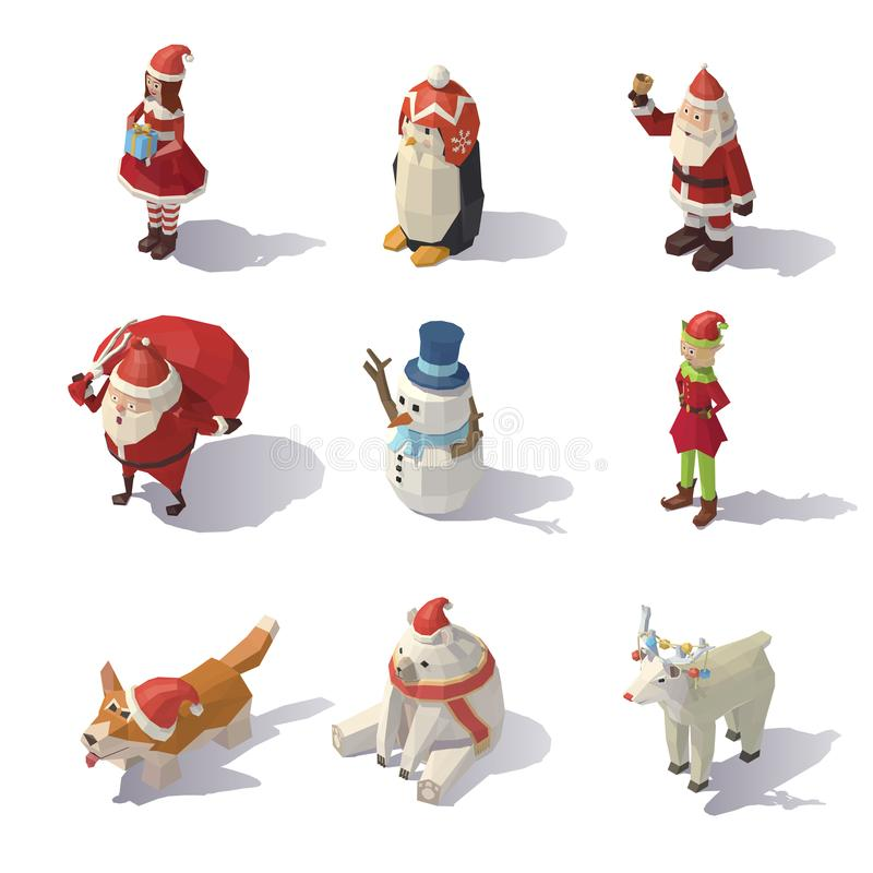 Caráteres do Natal do vetor isométricos ilustração stock