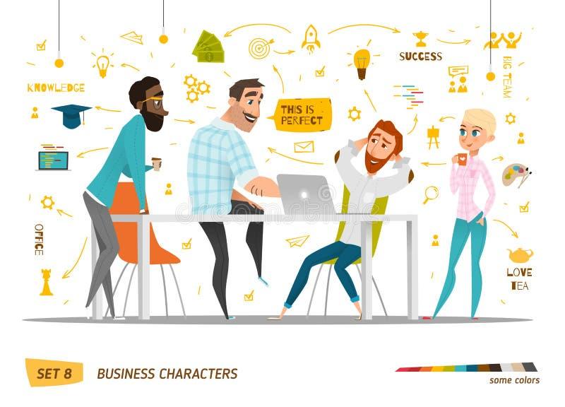 Caráteres do negócio ajustados ilustração royalty free