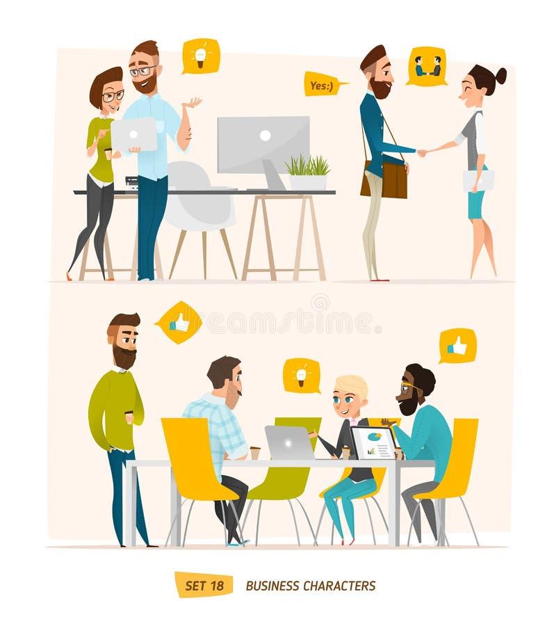 Caráteres do negócio ajustados ilustração do vetor