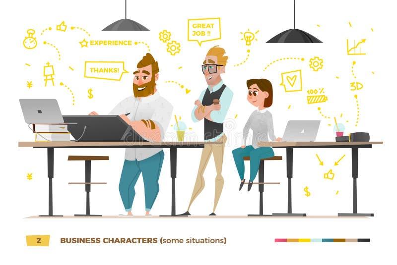 Caráteres do negócio em algumas situações ilustração stock