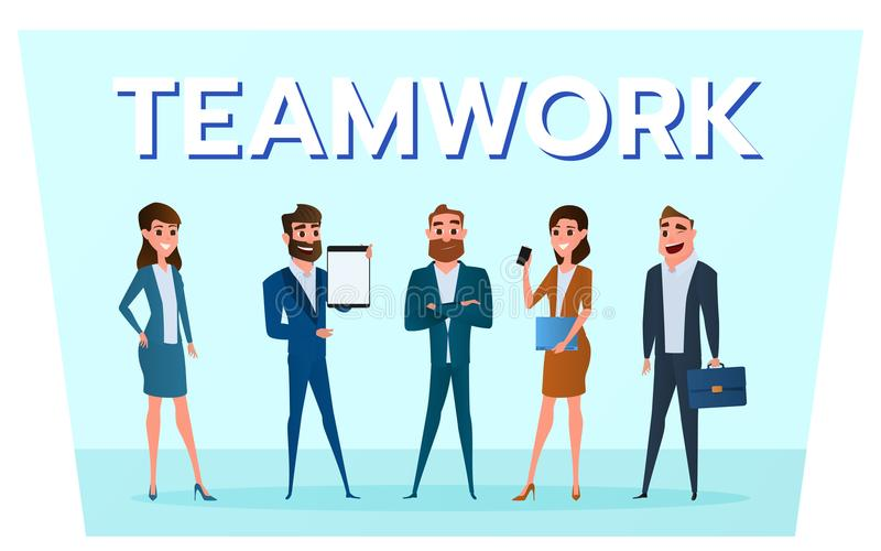 Caráteres do negócio Executivos da equipe com trabalho dos dispositivos ao sucesso ilustração do vetor