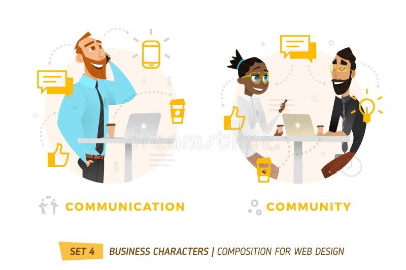 Caráteres do negócio no círculo ilustração stock