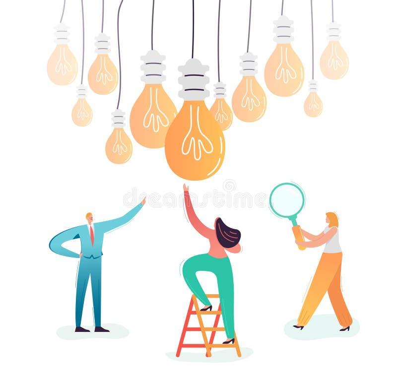 Caráteres do negócio que procuram a ideia criativa Conceito das inovações dos trabalhos de equipe Conceituando o processo com exe ilustração do vetor