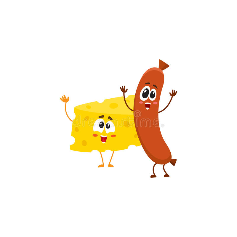 Caráteres do pedaço da salsicha e do queijo de salsicha tipo frankfurter que dançam felizmente junto ilustração do vetor