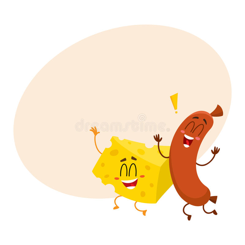 Caráteres do pedaço da salsicha e do queijo de salsicha tipo frankfurter que dançam felizmente junto ilustração royalty free