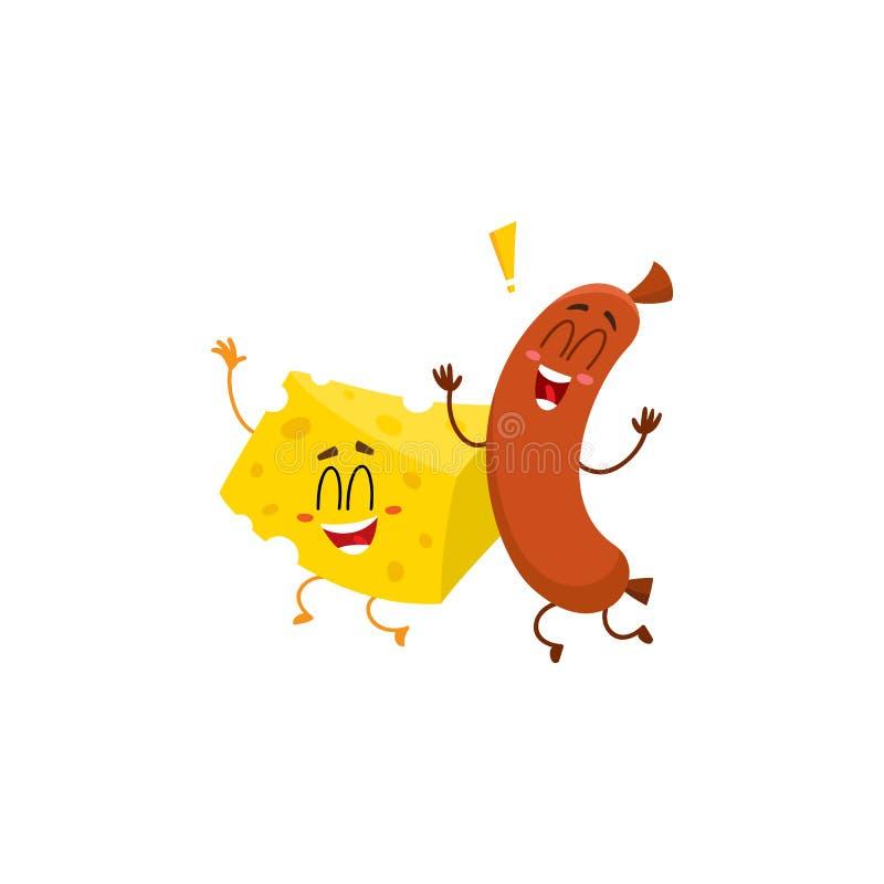 Caráteres do pedaço da salsicha e do queijo de salsicha tipo frankfurter que dançam felizmente junto ilustração stock