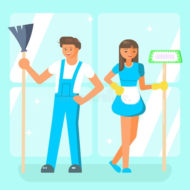 Caráteres do pessoal de serviço da limpeza ilustração stock