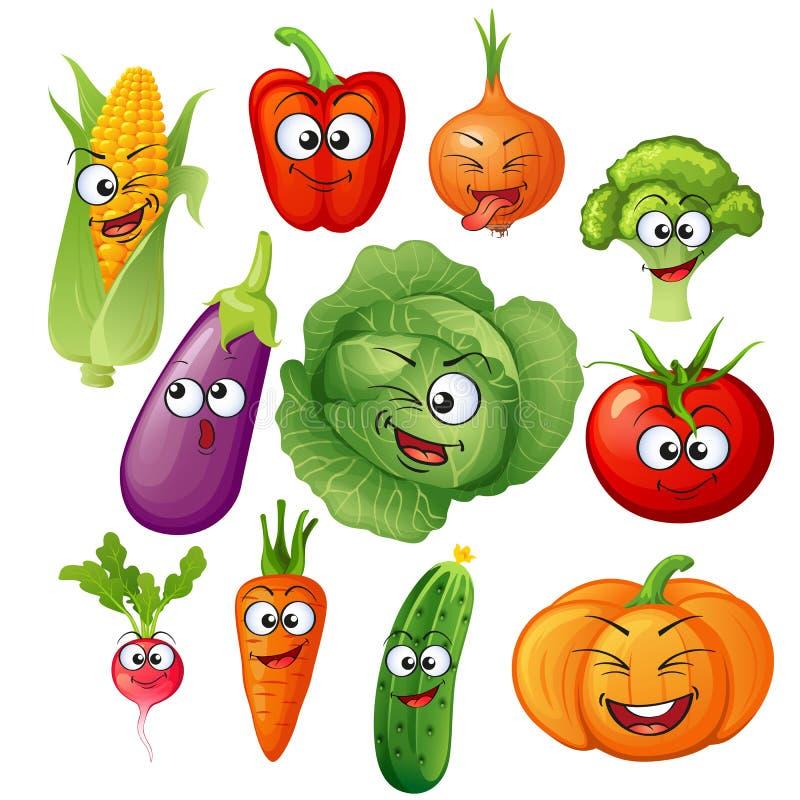 Caráteres do vegetal de Artoon Emoticons vegetais Pepino, tomate, brócolis, beringela, couve, pimentas, cenouras, cebolas, abóbor ilustração stock