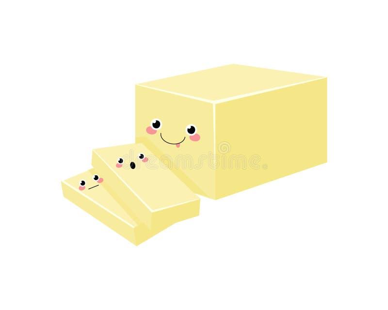 Caráteres do vetor da manteiga isolados no fundo branco Kawaii ilustração stock