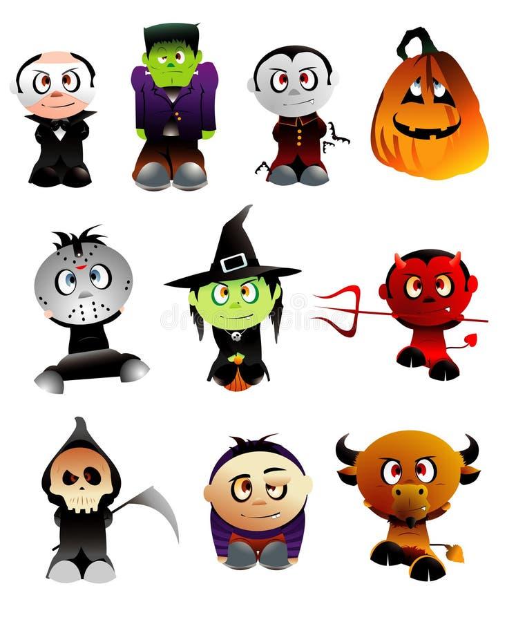 Caráteres do vetor de Halloween ilustração do vetor