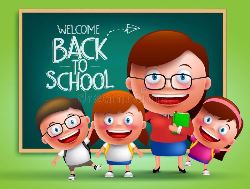 Caráteres do vetor do professor e dos estudantes na frente da sala de aula ilustração do vetor