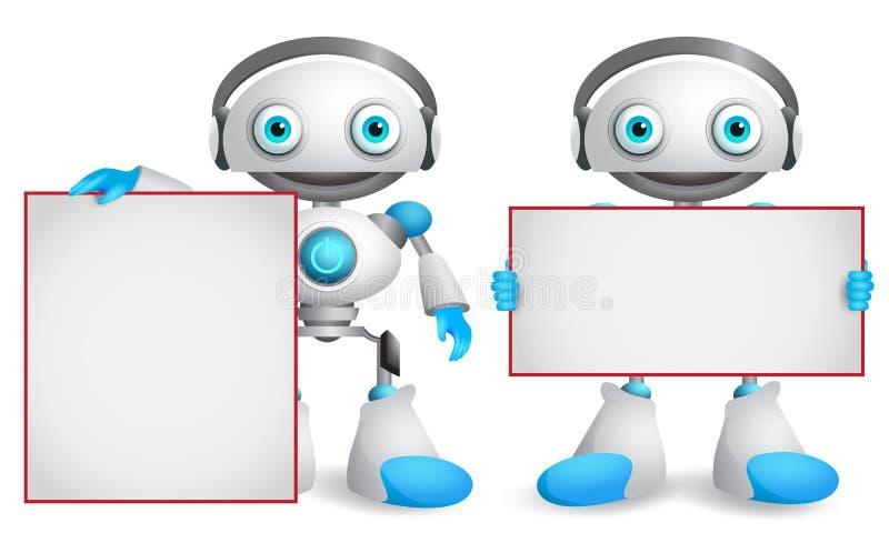 Caráteres do vetor do robô ajustados Robôs amigáveis e engraçados do androide ilustração royalty free