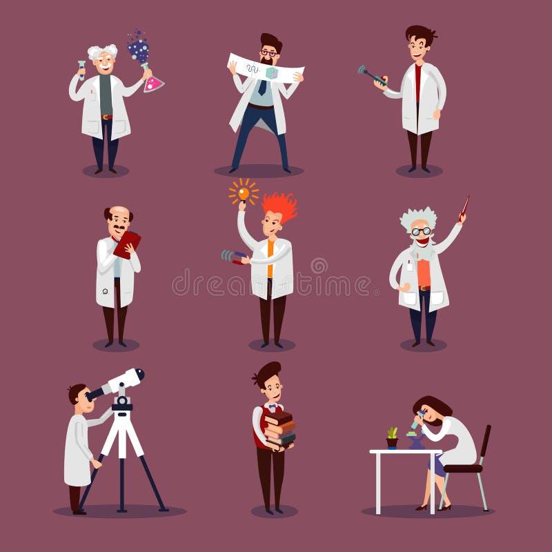 Caráteres dos cientistas ajustados ilustração do vetor
