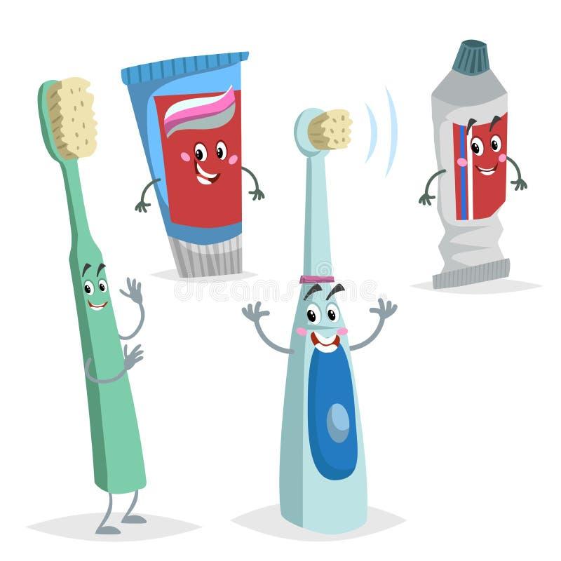 Caráteres dos cuidados dentários dos desenhos animados ajustados Escova de dentes cômica, escova elétrica do ultrassom, tubos da  ilustração stock