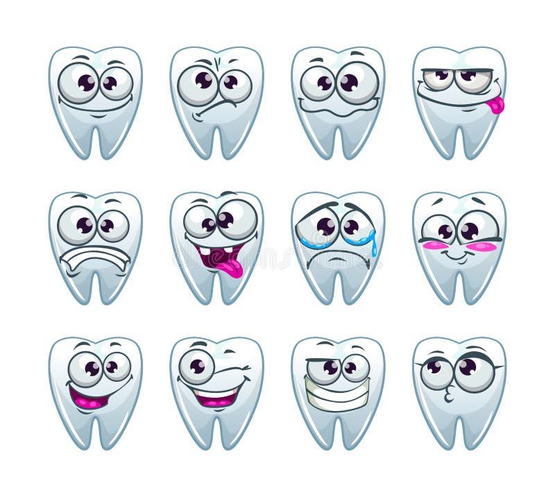 Caráteres dos dentes dos desenhos animados com emoções diferentes ilustração stock