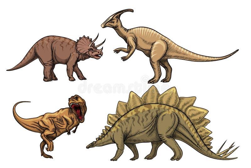 Caráteres dos dinossauros ajustados ilustração do vetor
