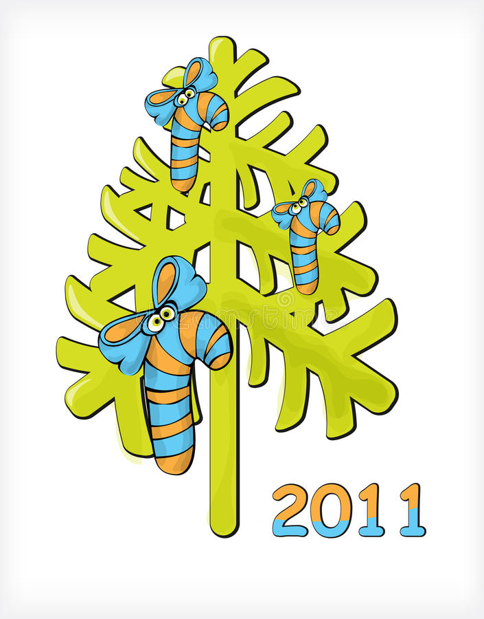 Caráteres dos doces da árvore de Natal ilustração do vetor