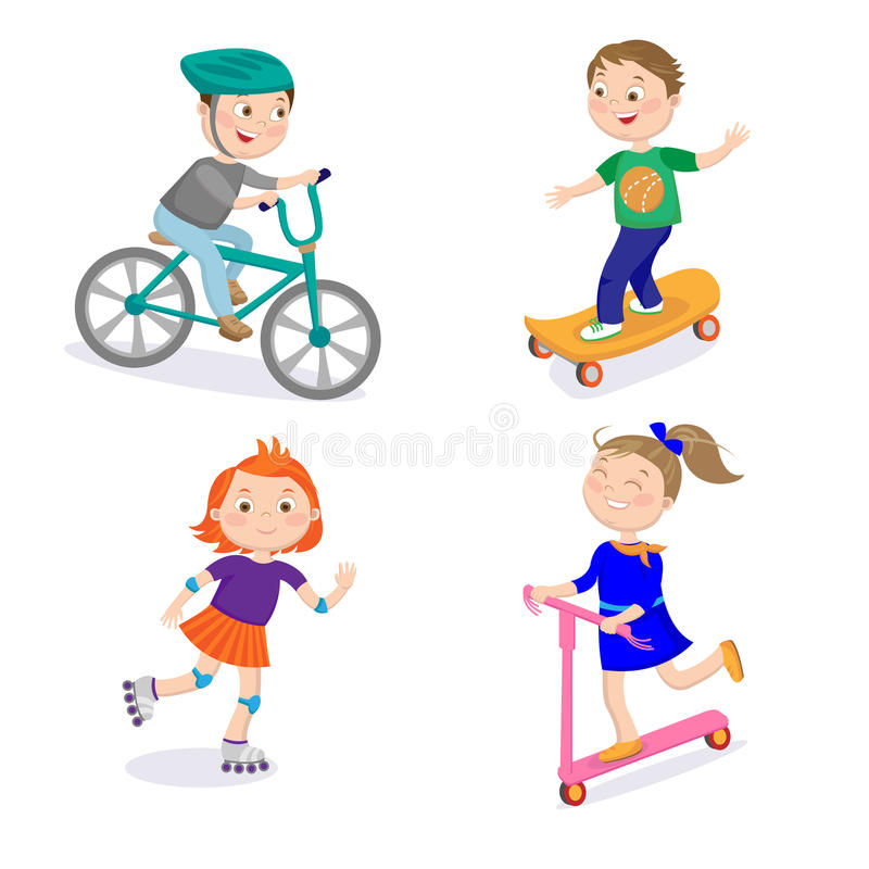 Caráteres dos esportes das crianças Ciclo que compete, Skateboarding, montando ilustração royalty free