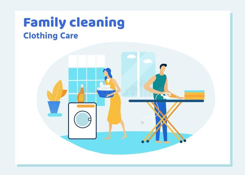 Caráteres dos pares da família que limpam a casa no fim de semana ilustração royalty free