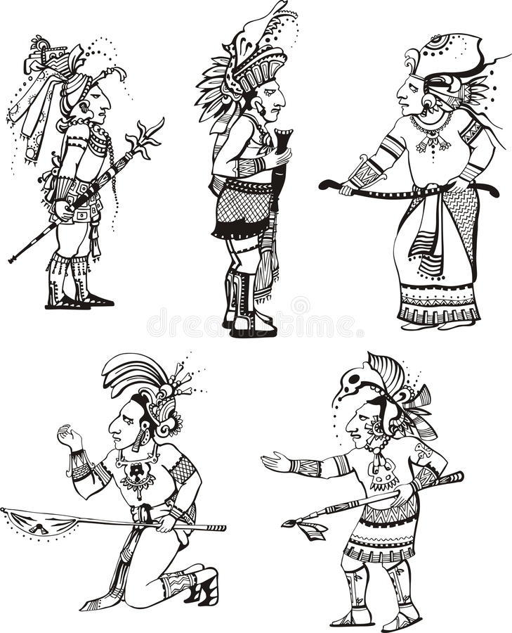 Caráteres dos povos do Maya ilustração do vetor
