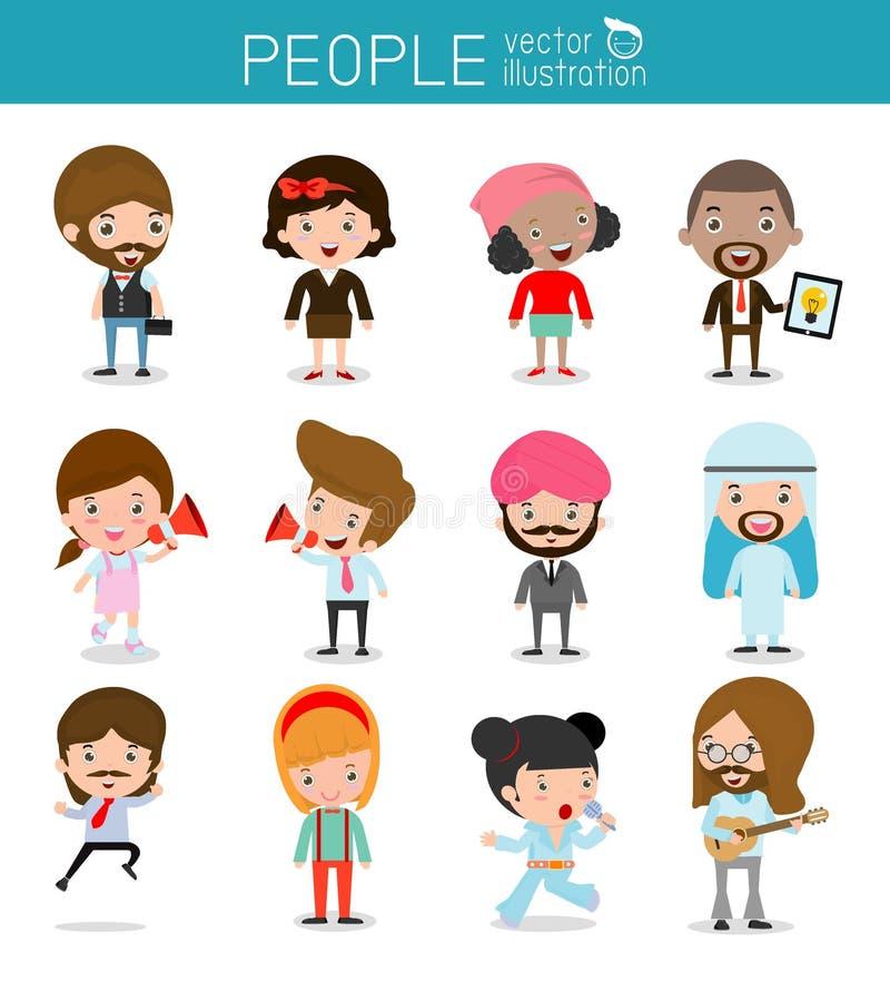 Caráteres dos povos, grande grupo de pessoas, grupo de executivos diversos no estilo liso isolados no fundo branco, nat diferente ilustração royalty free