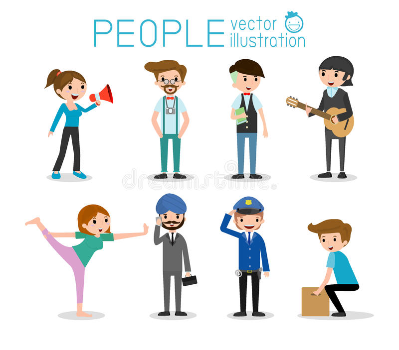 Caráteres dos povos, grande grupo de pessoas, pessoa em vários estilos de vida, caráteres dos povos ilustração royalty free