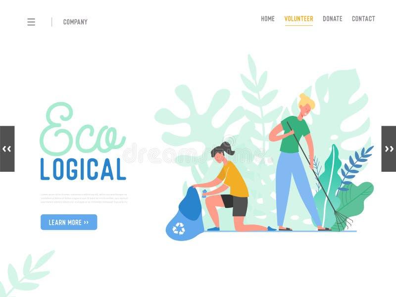 Caráteres dos povos que removem o lixo do planeta Caráteres que limpam a superfície da Terra Reciclagem e ecologia, conceito de s ilustração royalty free