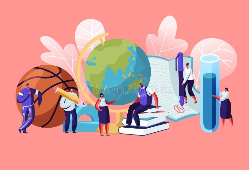 Caráteres dos professores com ferramentas e artigos de papelaria educacionais como livros do globo da bola Disciplinas diferentes ilustração stock