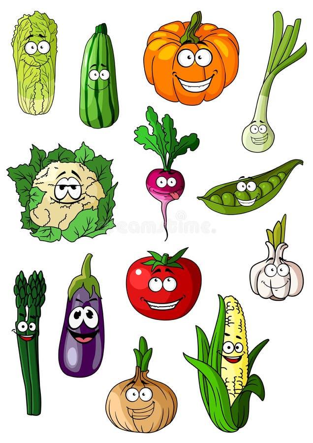 Caráteres dos vegetais dos desenhos animados alegres vários ilustração do vetor