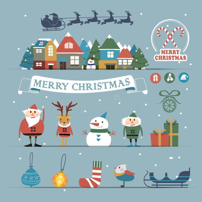 Caráteres e decorações do Natal ajustados ilustração royalty free