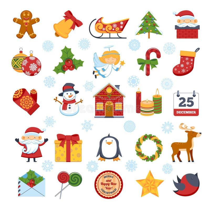 Caráteres e decorações do Natal ajustados ilustração stock