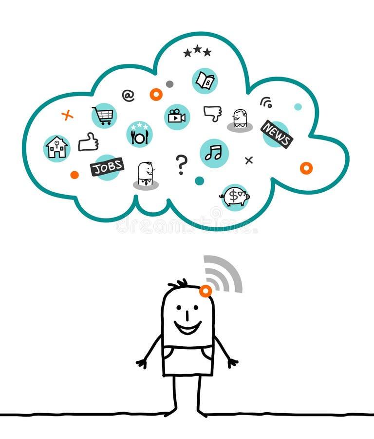Caráteres e nuvem - informações ilustração stock