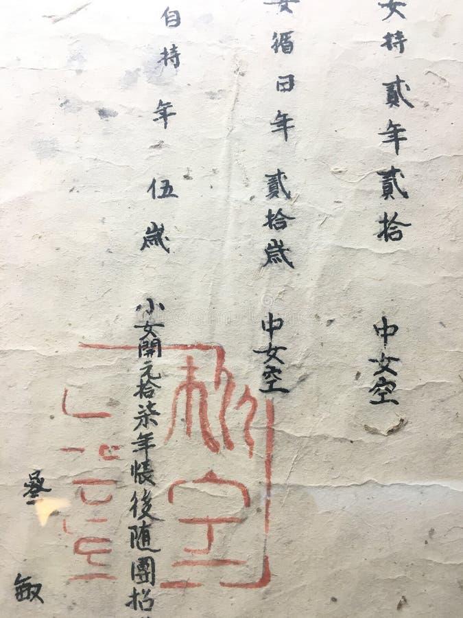 Caráteres e selo tradicionais chineses foto de stock
