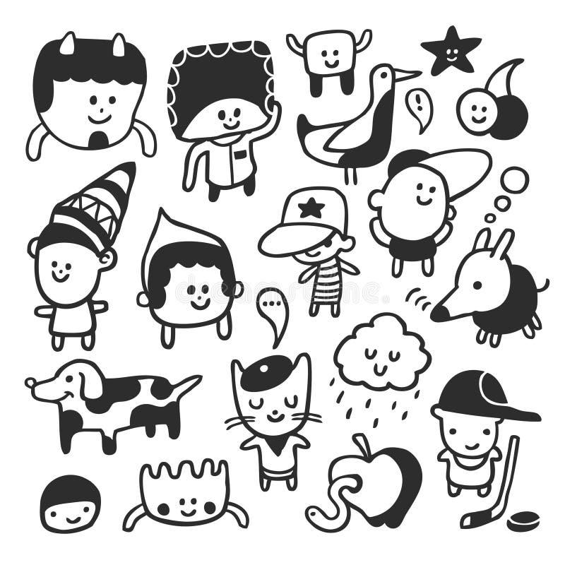 Caráteres engraçados ajustados ilustração stock