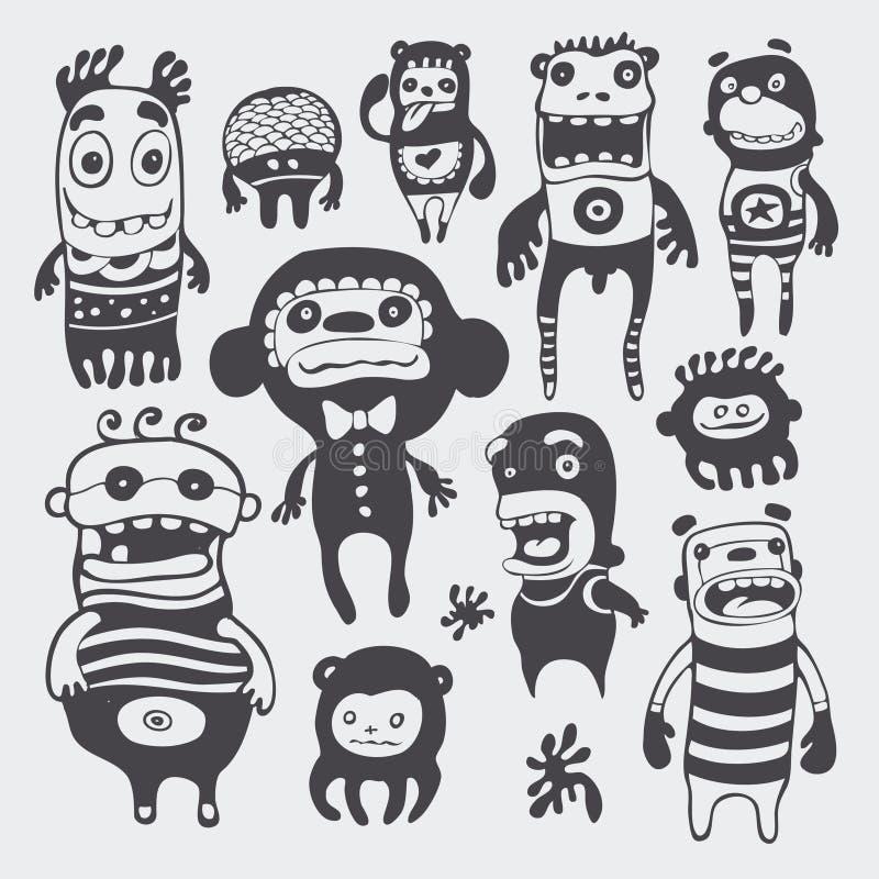 Caráteres engraçados ajustados ilustração royalty free