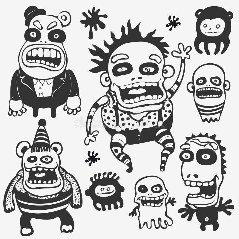Caráteres engraçados ajustados ilustração do vetor