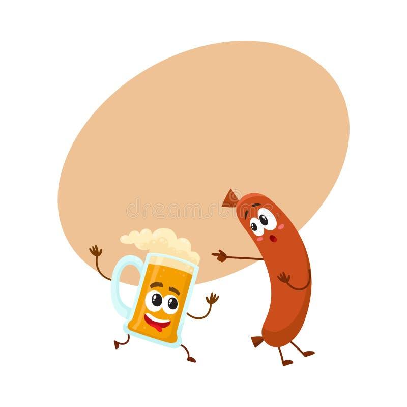 Caráteres engraçados da caneca de cerveja e da salsicha de salsicha tipo frankfurter que têm o divertimento junto ilustração royalty free