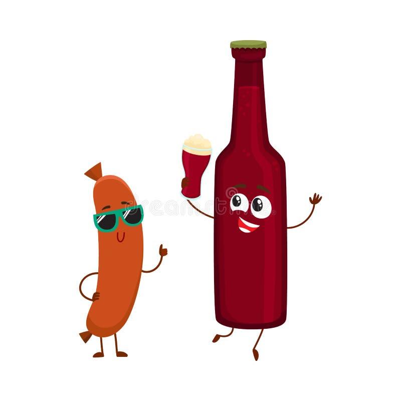 Caráteres engraçados da garrafa de cerveja e da salsicha de salsicha tipo frankfurter que têm o divertimento junto ilustração do vetor
