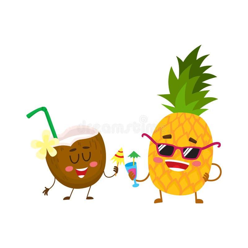 Caráteres engraçados do abacaxi e do coco que bebem cocktail, tendo o divertimento ilustração royalty free