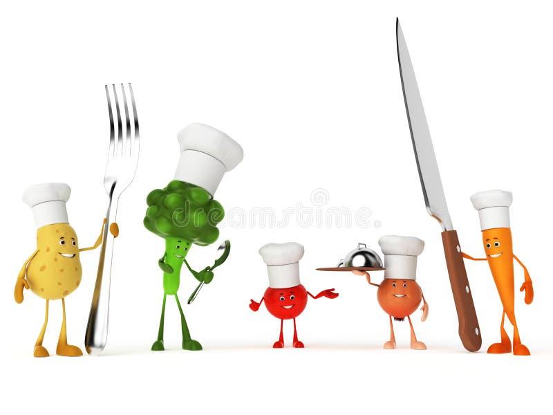 Caráteres engraçados do alimento ilustração stock
