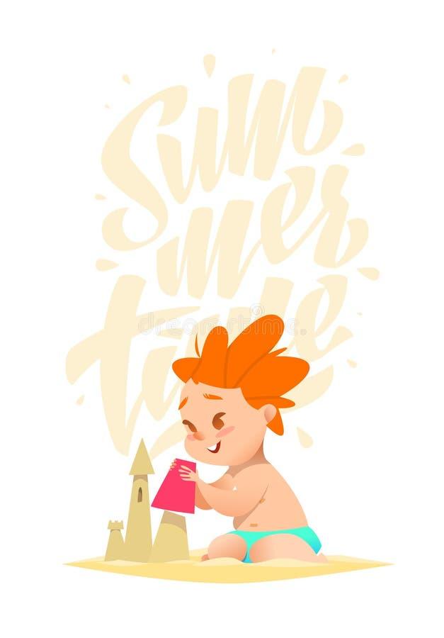 Caráteres engraçados do verão no estilo dos desenhos animados ilustração stock