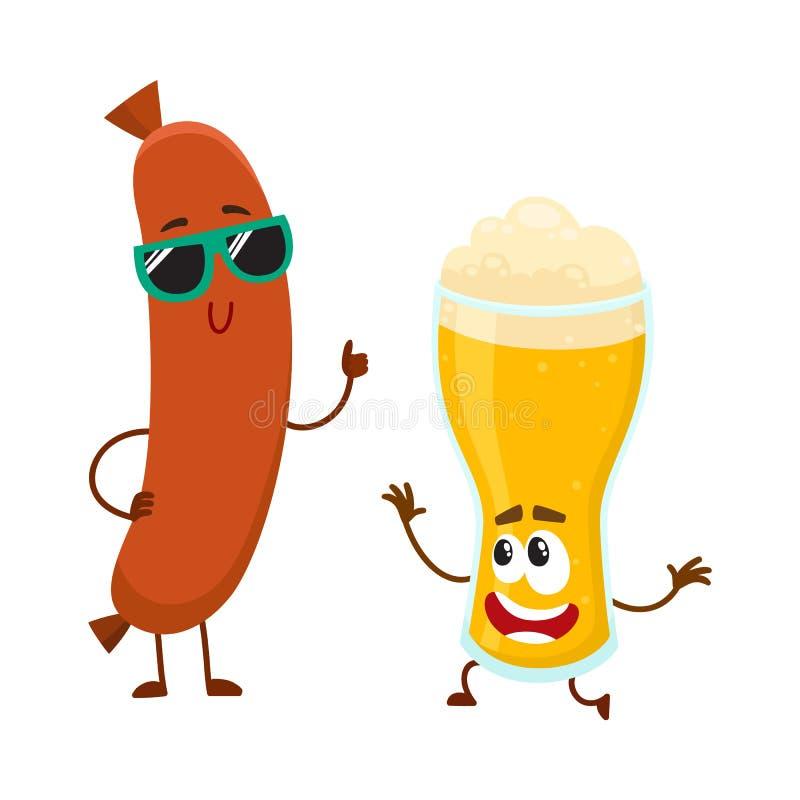 Caráteres engraçados do vidro de cerveja e da salsicha de salsicha tipo frankfurter que têm o divertimento junto ilustração stock