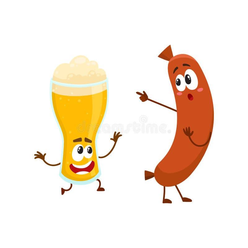 Caráteres engraçados do vidro de cerveja e da salsicha de salsicha tipo frankfurter que têm o divertimento junto ilustração royalty free