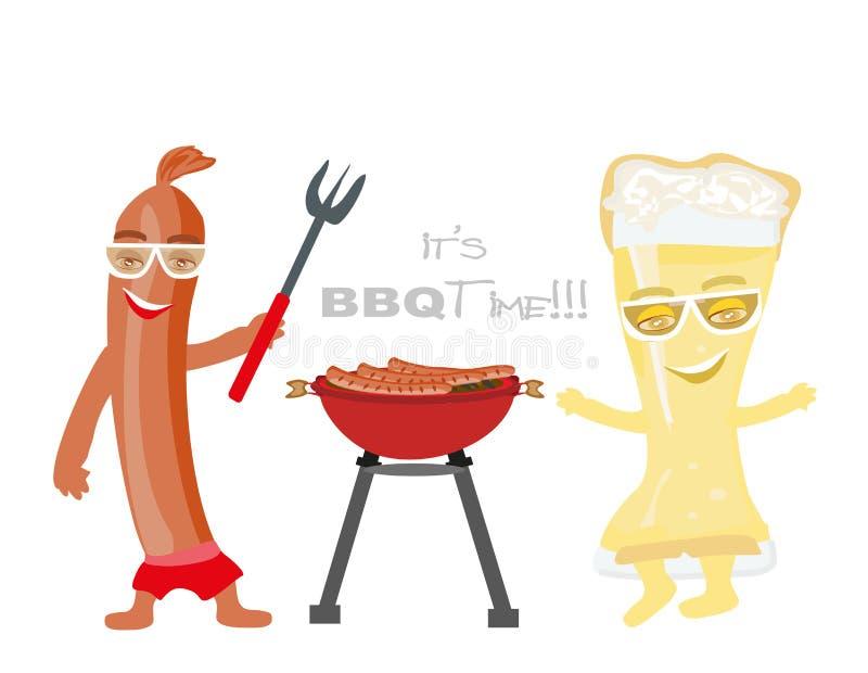 Caráteres engraçados do vidro de cerveja e da salsicha de salsicha tipo frankfurter ilustração stock
